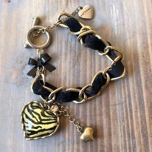Betsey Johnson Black Velvet Zebra Heart Bracelet!
